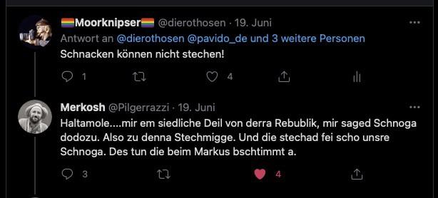 Ein Tweet von Matthias mit dem Hinweis, dass Schnaken nicht stechen können. Darunter der in der Mundart von Merkosh verfasste Tweet