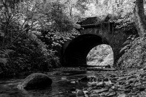 Brücke, die über einen kleinen Bach führt, vom Fuße des Bachlaufs aufgenommen