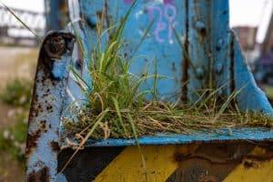 Stahlträger mit Gras bewachsen